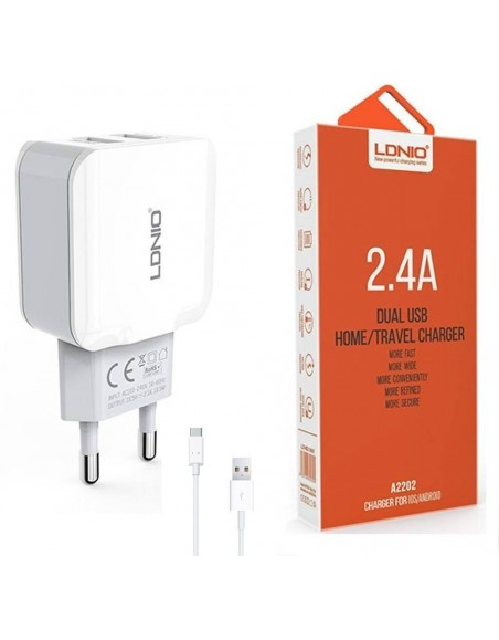 LDNIO A2202 Dual Smart USB Travel Charger With Type C USB Cable
