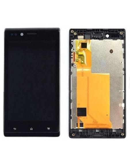 Sony Xperia J LCD Screen and Digitizer Assembly with Frame - Black - Original A6124202B