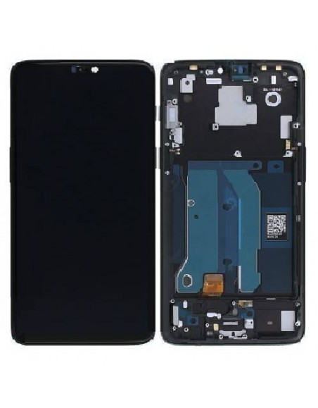 OnePlus 6 LCD Screen and Digitizer Assembly with Frame - Midnight Black  - 1
