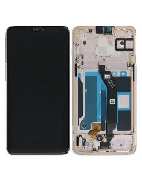 OnePlus 6 LCD Screen and Digitizer Assembly with Frame - White OnePlus - 1