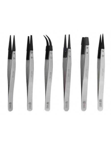 Factory ESD Carbon fiber Tip Anti static Stainless Steel Flated Tip Tweezers  - 1