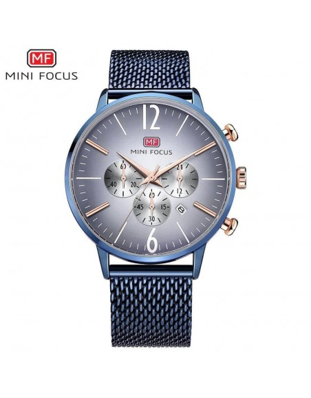 MINI FOCUS Chronograph Men Sports Watch Analog Date Stainless Steel Quartz Watch