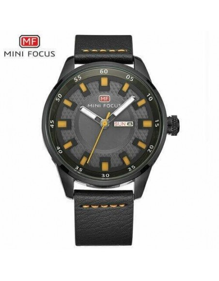 MINI FOCUS Men Casual Business Week Day Watches Leather Quartz Wristwatch MF0027