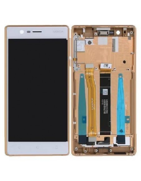 Nokia 3 LCD Screen and Digitizer Assembly with Frame - Copper