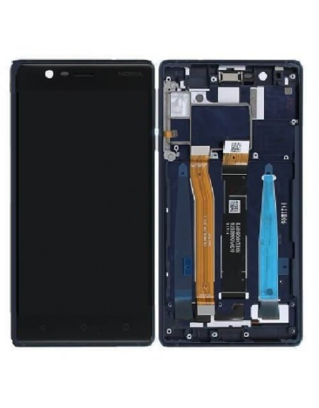 Nokia 3 LCD Screen and Digitizer Assembly with Frame - Blue