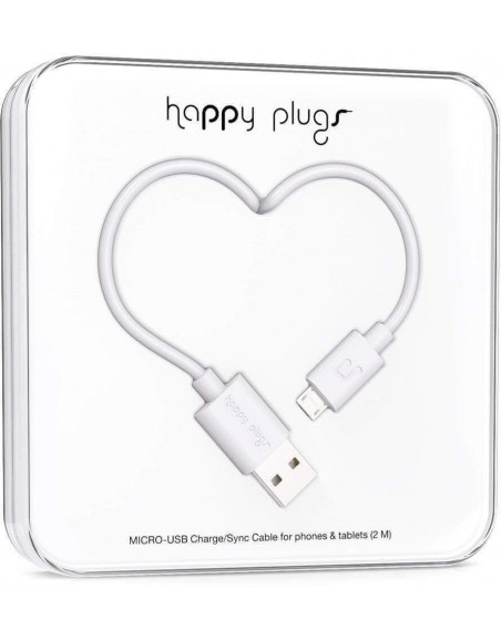 Happy Plugs Micro-USB to USB Charge/Sync Cable 2M - White
