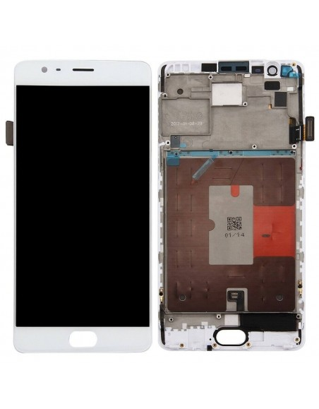 OnePlus 3/3T LCD Screen and Digitizer Assembly with Frame - White OnePlus - 1