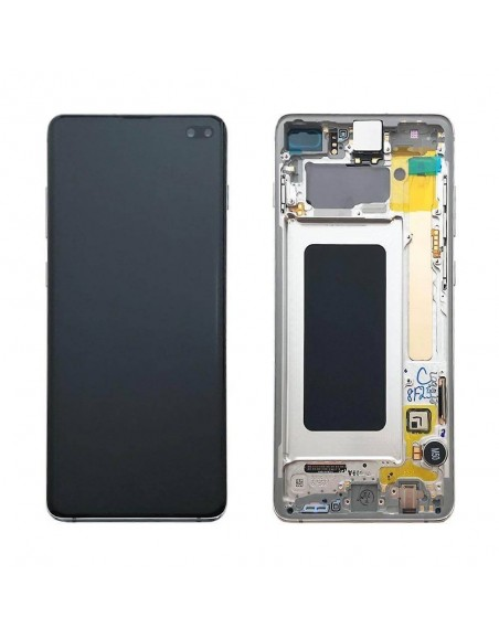 Samsung S10 Plus LCD Screen Digitizer Assembly with Frame GH82-18849B - White - Original